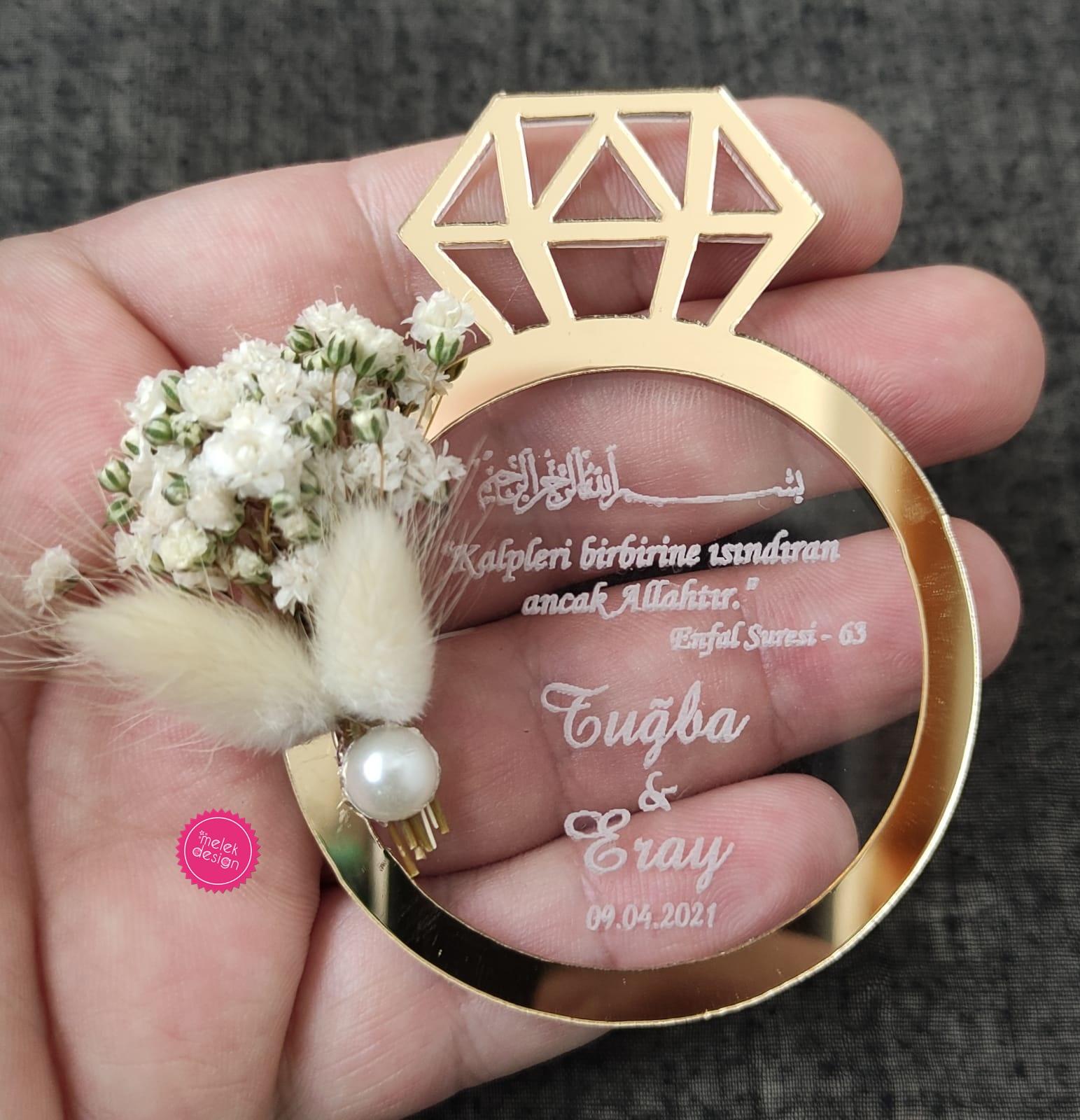 şeffaf pleksi magnet yaratıcı nikah şekerleri